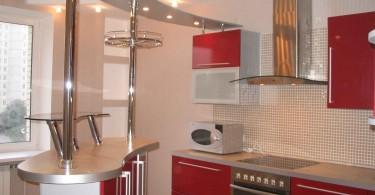 Металлическая барная стойка в расном интерьере кухни