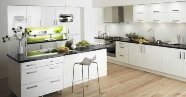 Оформление интерьера кухни в белом цвете