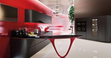 Дизайн кухни в красно-чёрной гамме