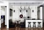 Стильный дизайн чёрно-белого интерьера кухни