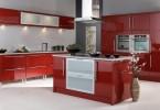 Шикарный интерьер кухни в красном цвете