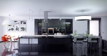 Потрясающий тёмный интерьер элегантной кухни