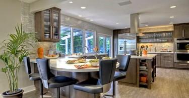 Точечные потолочные светильники в интерьере современной кухни