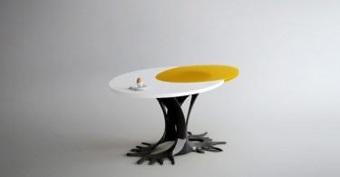 Дизайн обеденного стола в форме глазуньи