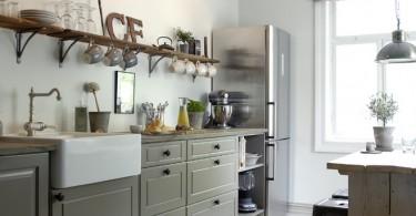 Элегантный скандинавский стиль в винтажном интерьере кухни