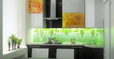 Стеклянный фартук в дизайне интерьера кухни