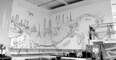 Художественная роспись на кухонной стене