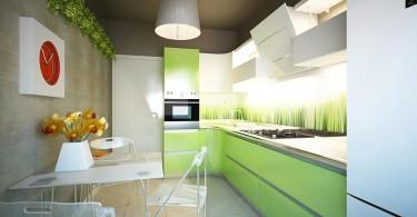 Современный интерьер кухни в зелёной гамме
