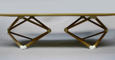 Обеденный стол с опорами в виде двух многогранников