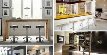 Фотоколлаж: дизайн современной кухни с элегантным баром