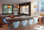 Нестандартное оформление барной стойки в интерьере кухни