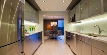 Металлические шкафы в интерьере современной кухне