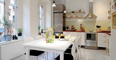 Белоснежный интерьер современной кухни