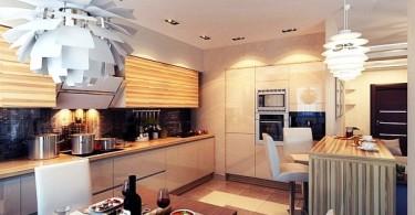 Креативные подвесные светильники в интерьере кухни