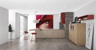 Дизайн интерьера кухни с красным гарнитуром