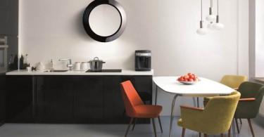 Круглая оригинальная вытяжка в стильном интерьере кухни