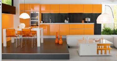 Яркий интерьер стильной оранжевой кухни