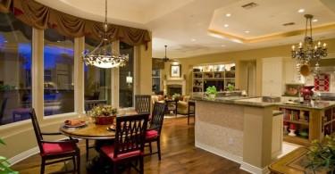 Круглый стол в интерьере кухни-студии