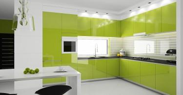 Дизайн интерьера кухни в салатовых оттенках