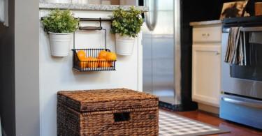 Плетёный короб для хранения кухонной утвари