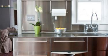 Дизайн интерьера кухни из нержавеющей стали