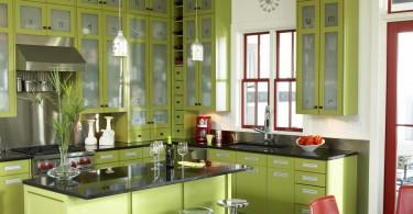 Потрясающий кухонный гарнитур в оливковой гамме