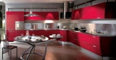 Восхитительный дизайн итальянской кухни Scavolini в красной гамме