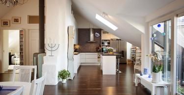 Интерьер кухни в скандинавском стиле на чердаке