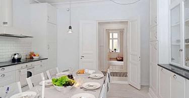 Дизайн стильной кухни в белых тонах