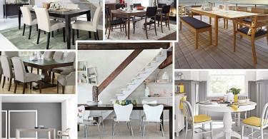 Фотоколлаж: разнообразный дизайн деревянных обеденных столов