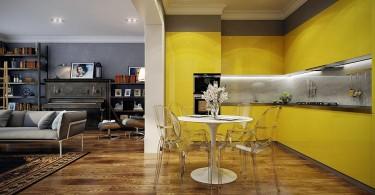 Потрясающий дизайн кухни в жёлтом цвете