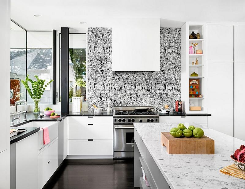 Креативные обои в стильном интерьере кухни от Hugh Jefferson Randolph Architects