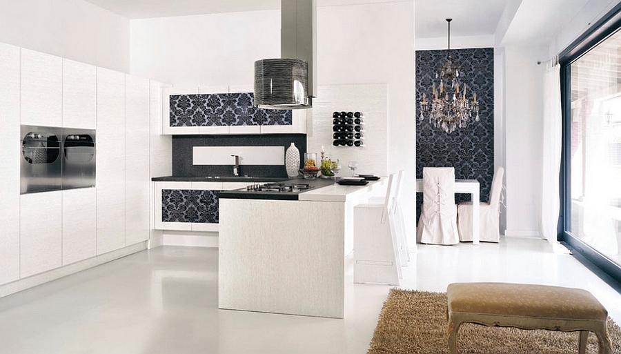 Креативные обои в стильном интерьере кухни от Imagine Living