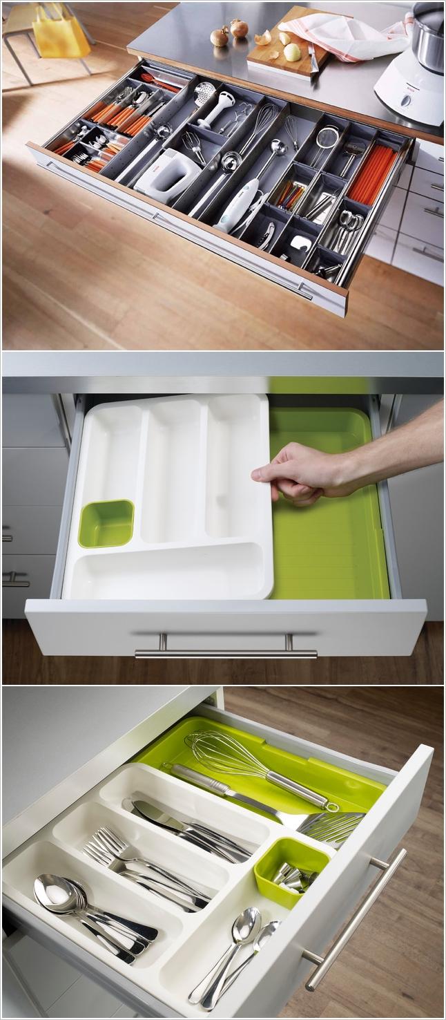 Хранение на кухне: выдвижной ящик для столовых приборов