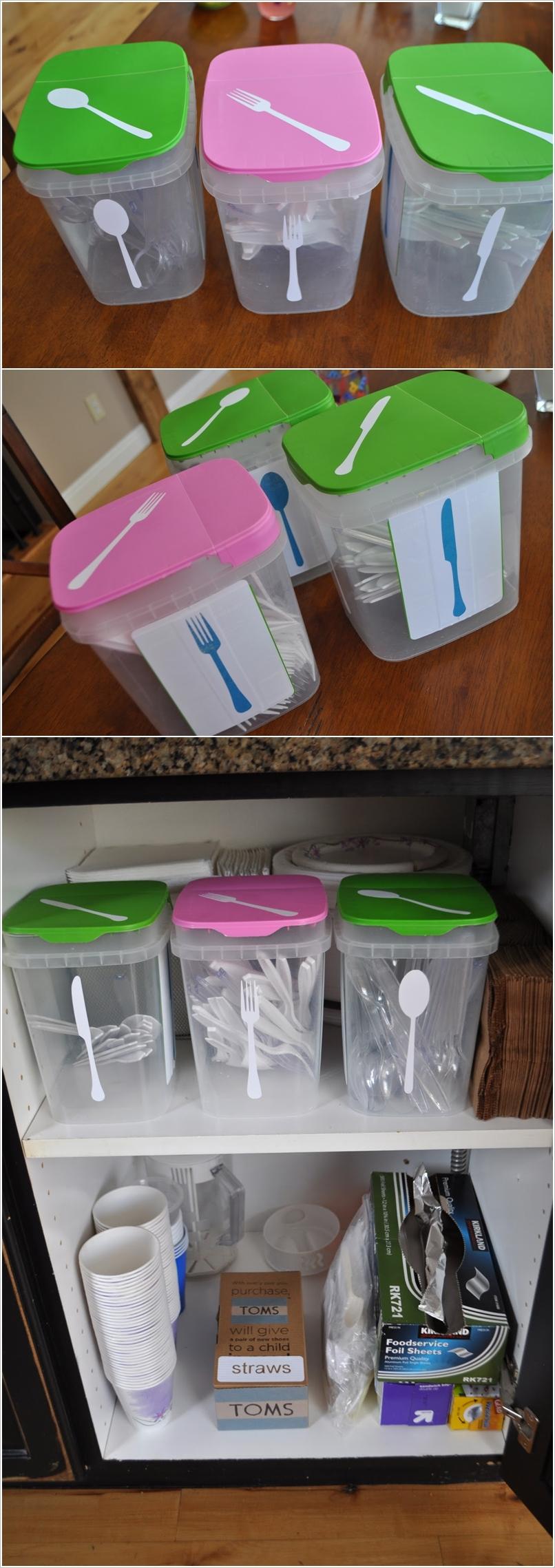 Контейнеры из пластика для хранения кухонных мелочей