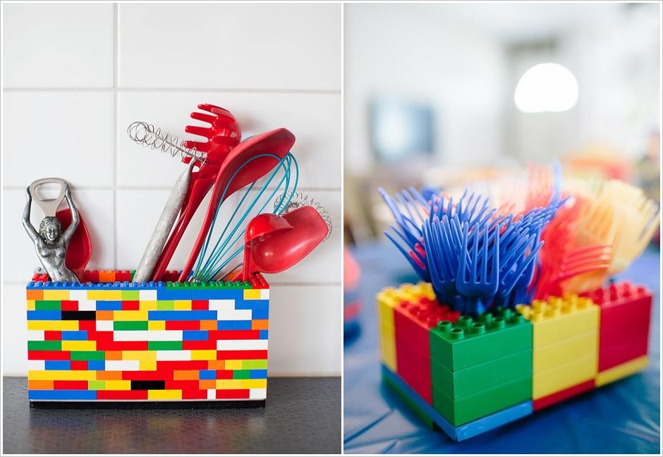 Конструктор Лего в качестве места для хранения столовых приборов