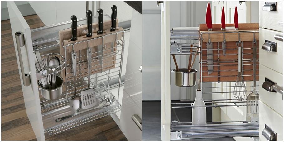 Выдвижной ящик с металлическими держателями для кухонного инвентаря