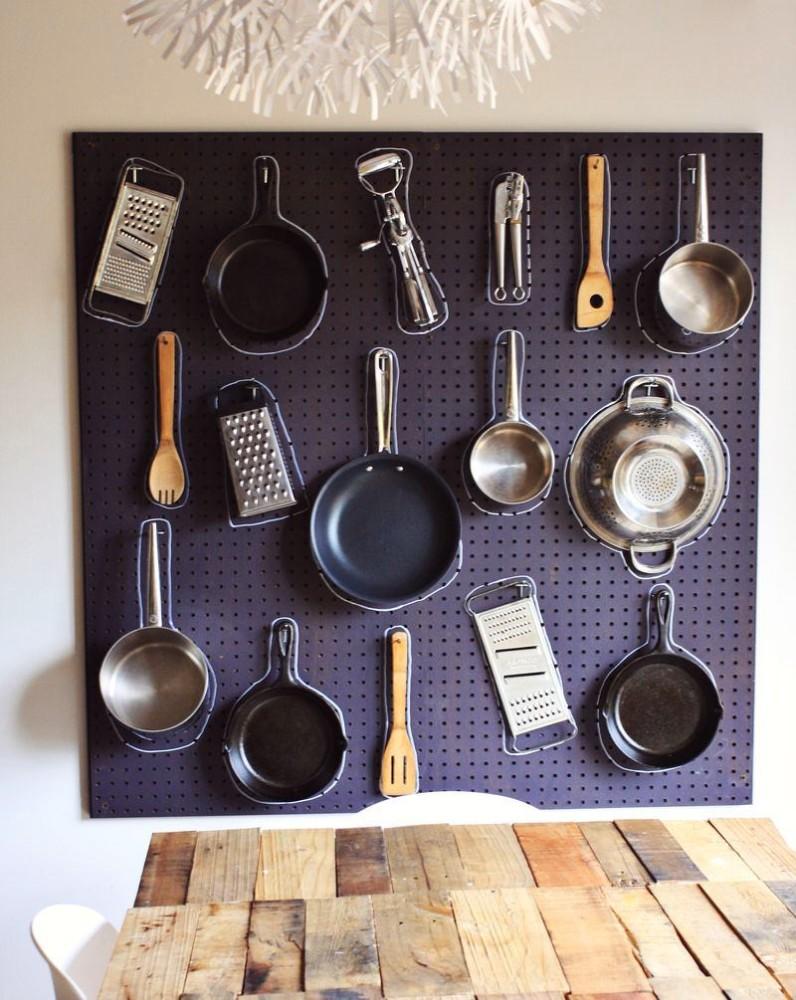 Сковородки на стеновой панели
