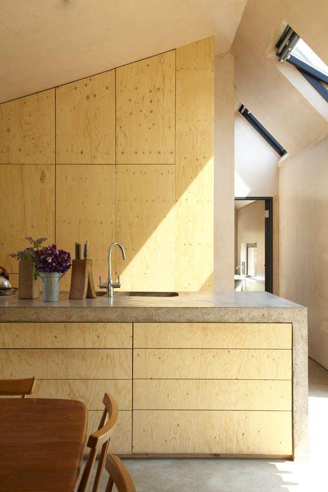 Оформление кухонного фартука из фанеры и бетона