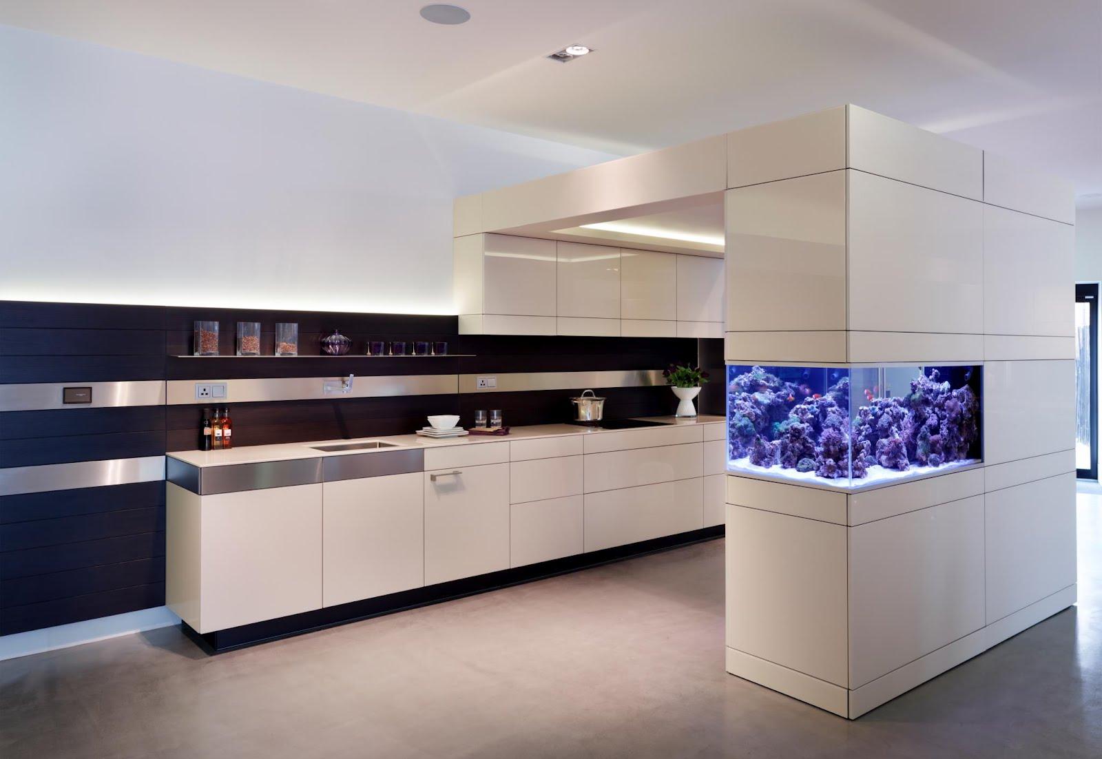 Стильный дизайн интерьера с аквариумом на кухне