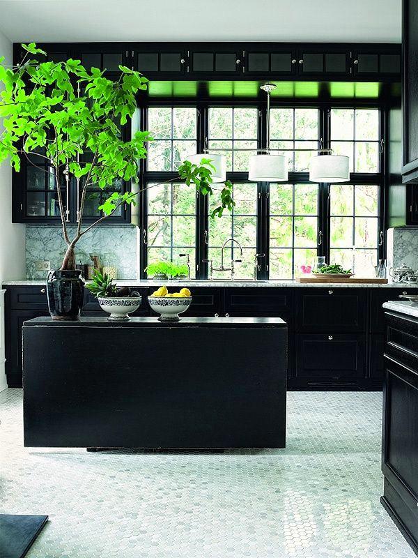 Растения на черной кухне