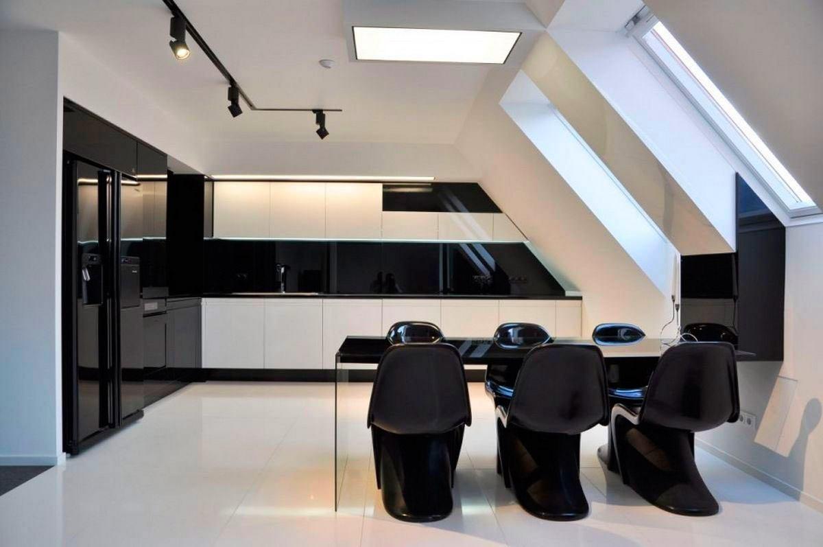 Дизайнерская мебель на кухне в черном цвете
