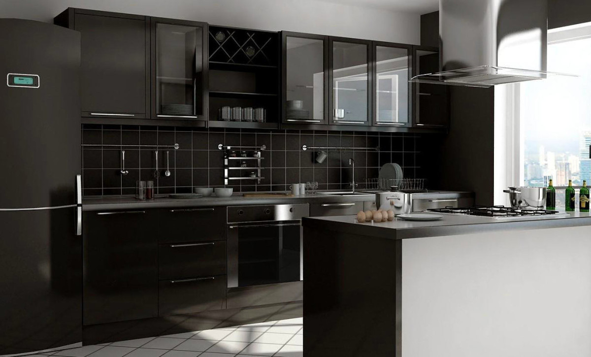 Монохромное оформление кухни