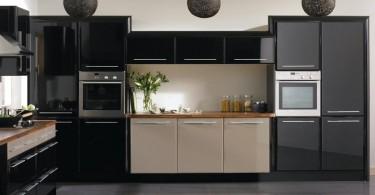 Черный интерьер кухни
