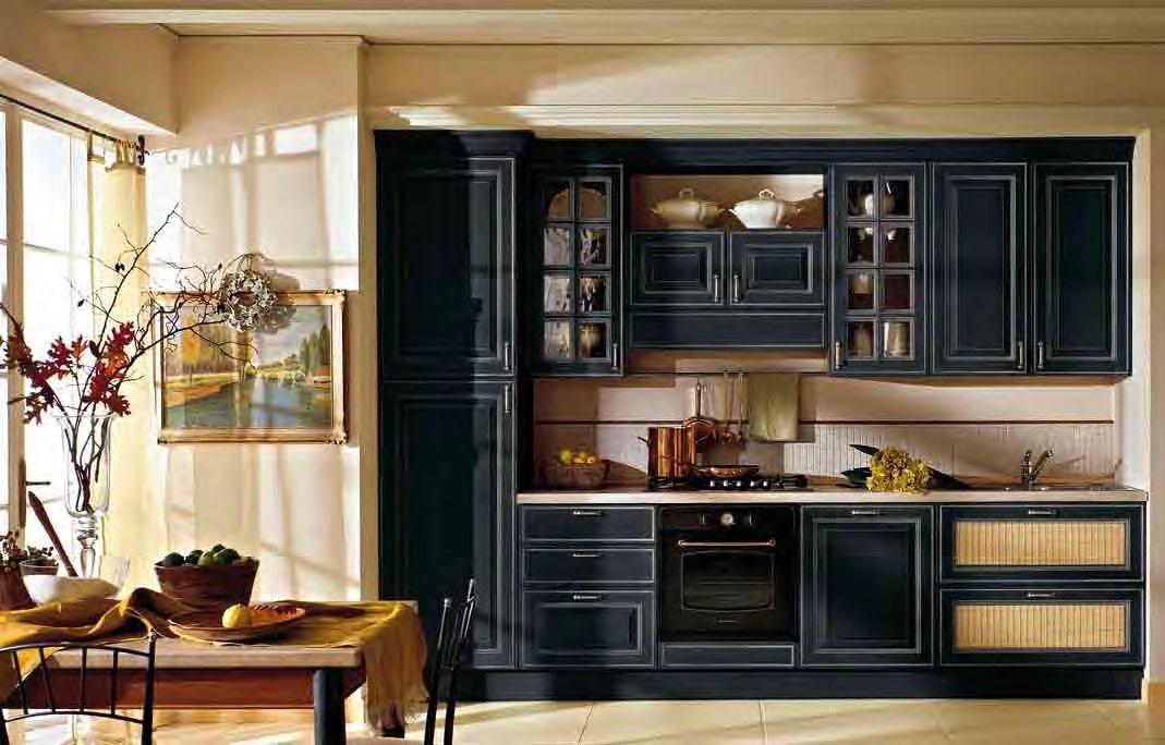 Черная кухня в ретро стиле