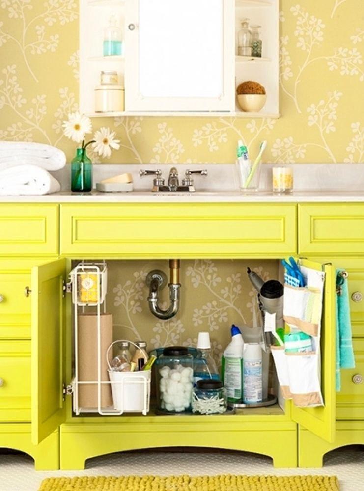 Желтый шкафчик под раковиной