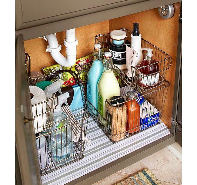 Хранения моющих средств под раковиной