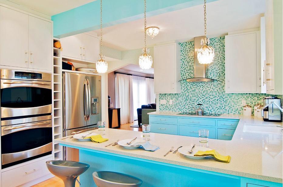 Голубой цвет кухонной мебели