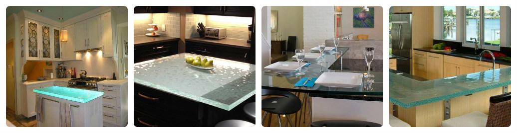 Кухонные столешницы из стекла