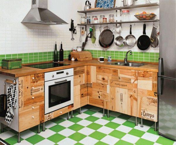 Винтажный кухонный гарнитур, сбитый из досок почтовых ящиков